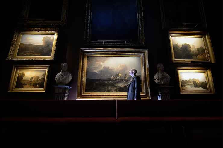 andrew loukes curator conservator j.m.w. turner mr.turner exhibition in the nnorth gallery petworth house - the national trust