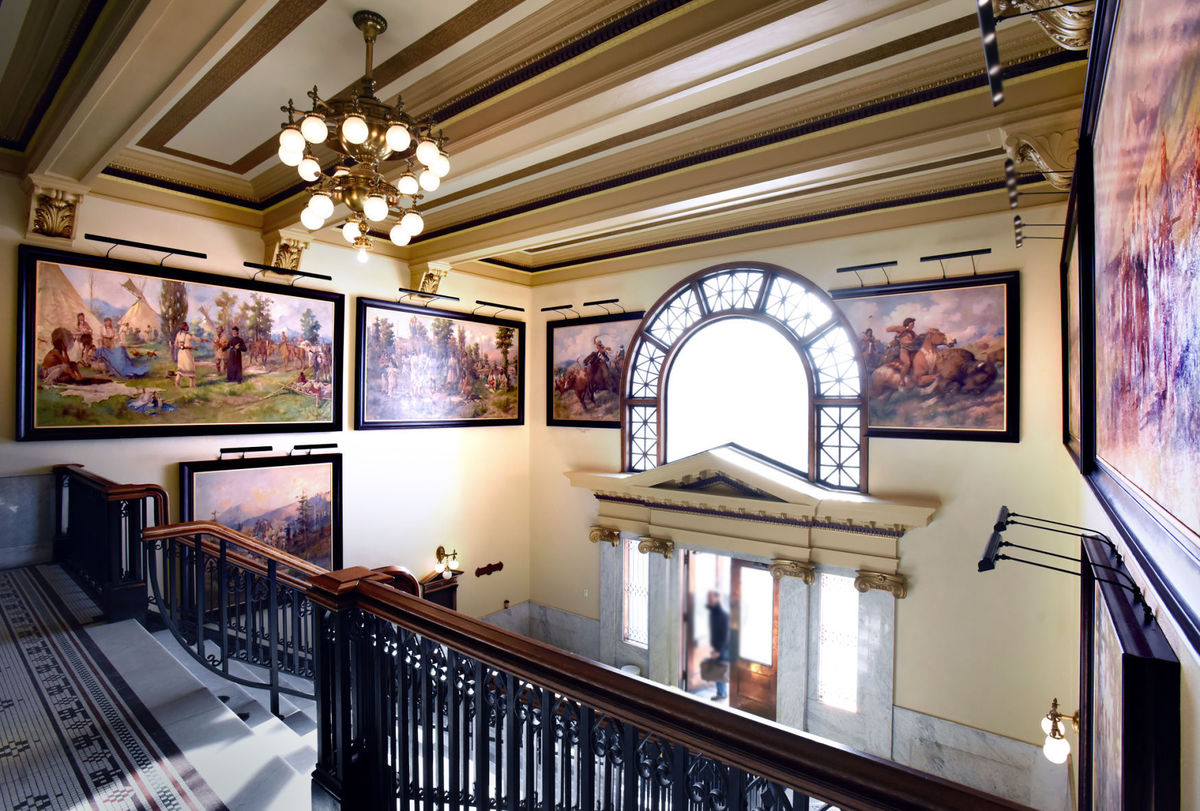 Missoula, Montana, USA, America. Picture Lights by Hogarth for the newly renovated Courthouse