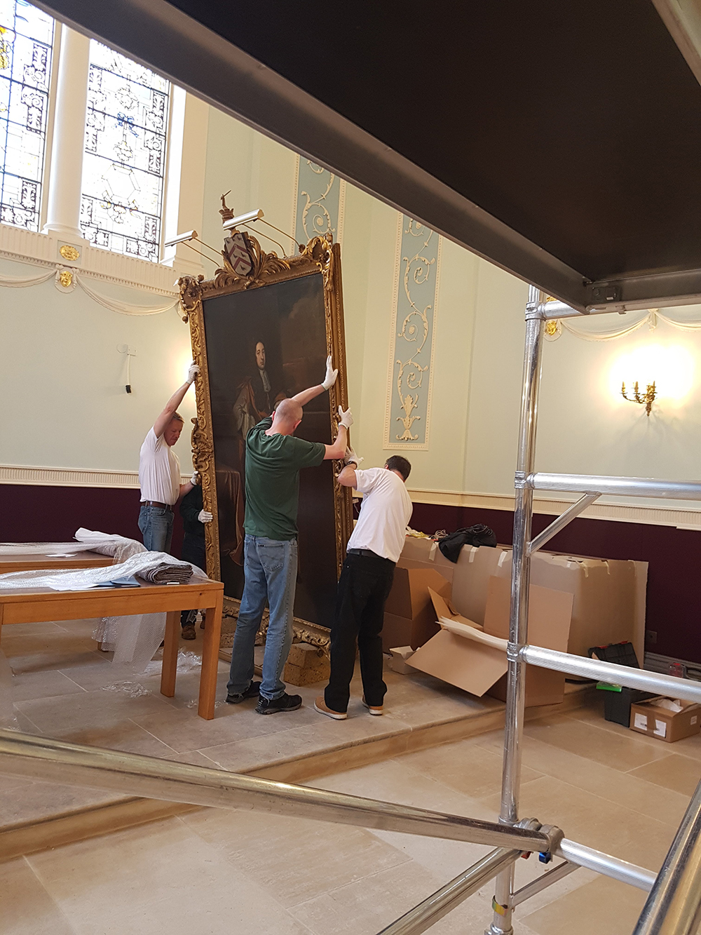 worcester college oxford picture lights by hogarth paintings being hung