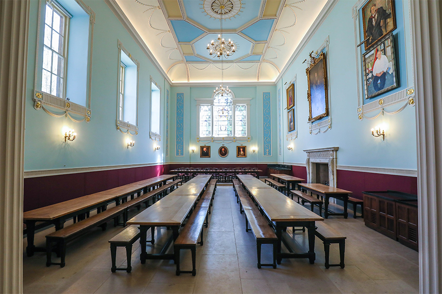 worcester college, oxford, picture lights by hogarth lighting the painting collection in the dining hall