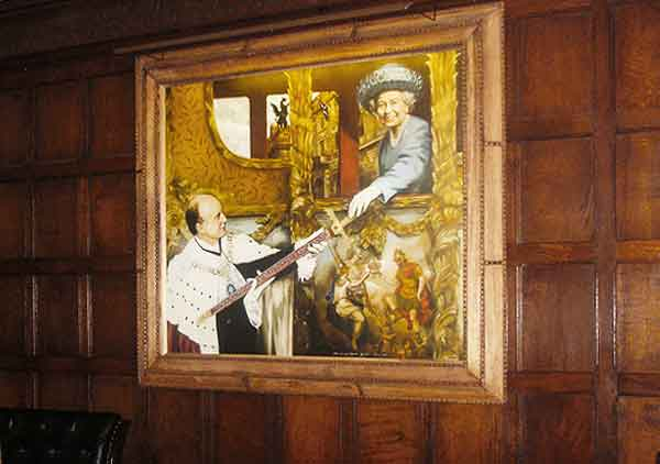 ironmongers hall painting of the queen lit by Hogarth Lighting