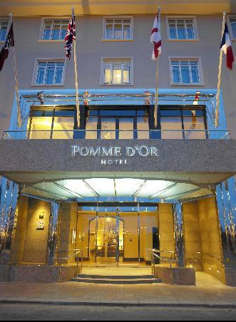 Pomme d'Or Hotel specify Hogarth picture lights for this beautiful hotel
