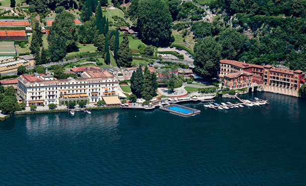 villa d'este a fine hotel in lake como, Italy install Hogarth picture lights