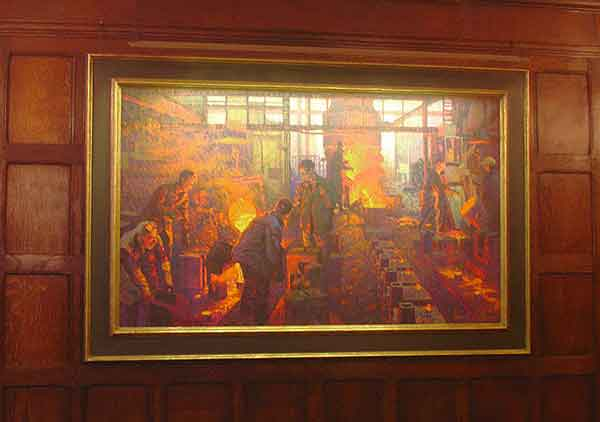 hogarth picture lights lighting the ironmongers hall - painting of steel works - steel pouring