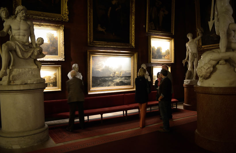 petworth house, national trust, hotel picture lights, london. Pencil picture lights lit by hogarth lighting