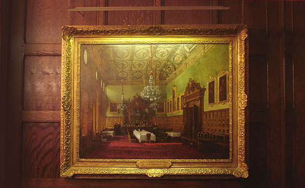 ironmongers halls, oak panelled hall with hogarth contemporary picture light