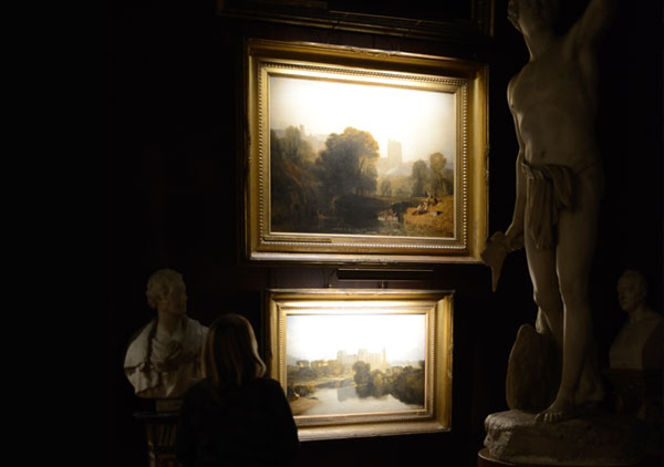 hogarth picture lights lighting petworth house mr.turner exhibition