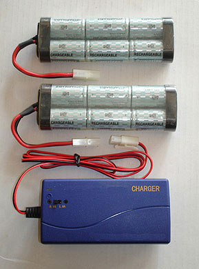 rechargeable battery set up for our picture lights